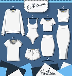 Set of white clothes to create design on dark vector