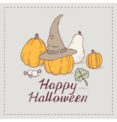 Hand drawn halloween greeting card with pumpkins vector
