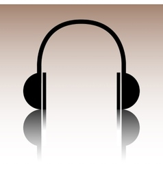 Black headphones icon vector