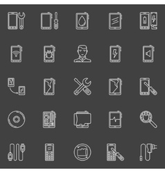 Smart phone repair icons vector