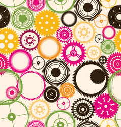 Gear seamless background retro color vector image