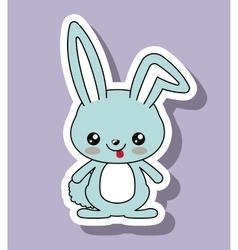 Rabbit character kawaii style isolated icon design vector