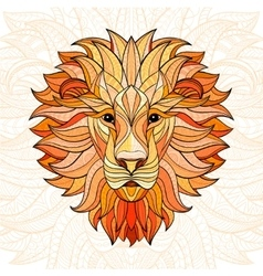 Detailed colored lion in aztec style vector