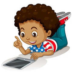 American boy using computer tablet vector