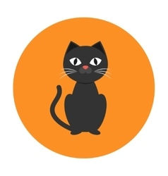 Black cat icon flat vector
