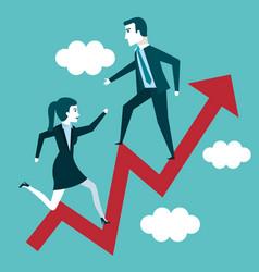 Businessman and woman climbing arrow increase vector
