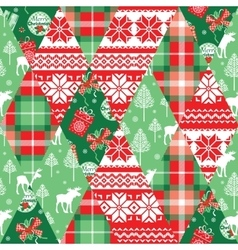 Christmas and new year patchwork seamless vector