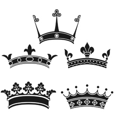 Collection of vintage crowns vector image vector image