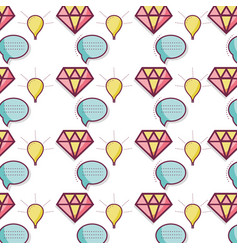 Color diamond chat bubbles and bulb background vector