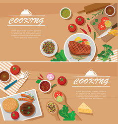 cooking banner flat design template vector image