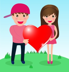 Couple in love whit big heart vector image