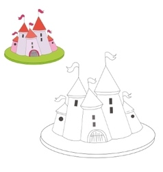 Educational game coloring book cartoon castle vector