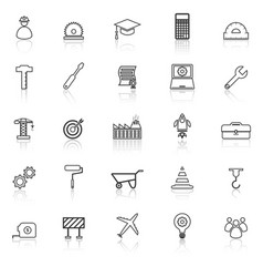 engineering line icons with reflect on white vector image vector image