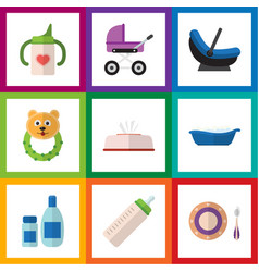 Flat icon infant set of nursing bottle bathtub vector