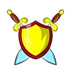 Gold shield with two crossed knight swords icon vector