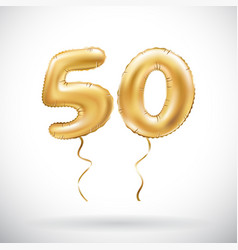 Golden number 50 fifty metallic balloon party vector