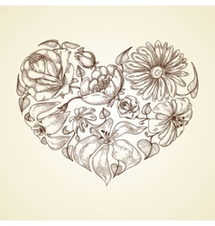 Heart of flowers graphic icon vector