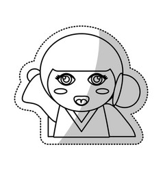 Kokeshi doll souvenir outline vector