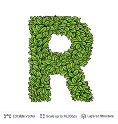 Letter r symbol of green leaves vector