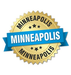 Minneapolis round golden badge with blue ribbon vector