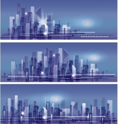 Modern night city skyline vector