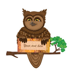 Owl with card vector