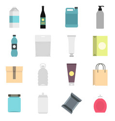 packaging items set flat icons vector image