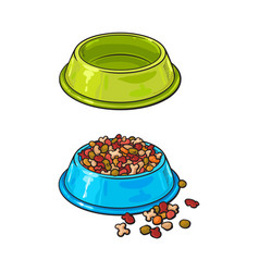 plastic bowls empty and filled with pet cat dog vector image