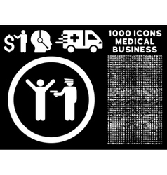 Police Arrest Rounded Icon With Medical Bonus vector image vector image