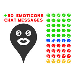 Prostitute smiley map marker icon with bonus vector
