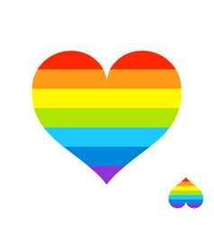 rainbow heart with lgbt color stripes symbol of vector image