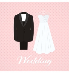 Suit beside wedding dress on pink background vector