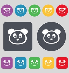Teddy bear icon sign a set of 12 colored buttons vector