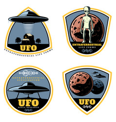 Vintage colored ufo emblems set vector