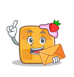 Waffle character cartoon design with envelope vector