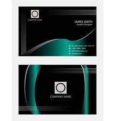 Wave blue black business cards template vector image