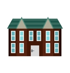 Brown two storey house icon flat style vector