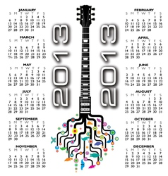 2013 guitar tree calendar vector