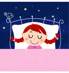 Cute little dreaming girl in bed with night sky vector