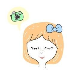 Cute stylized girl portrait Cartoon character vector image