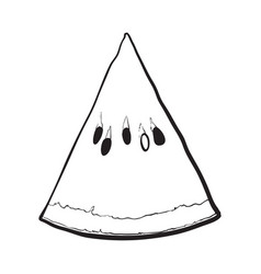 Triangular slice of ripe watermelon sketch style vector