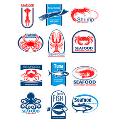 Seafood and fish symbol set for food design vector