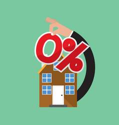 Zero percent home loan vector