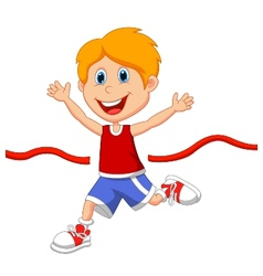 Cartoon boy ran to the finish line first vector