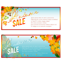 Autumn sale banners with orange leaves vector