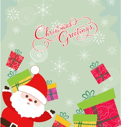 Merry christmas card with santa claus and gift 3 vector