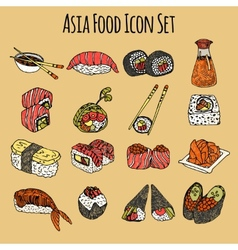 Asia food icon set colored vector
