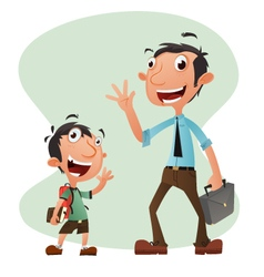 Boy and man cartoon character vector