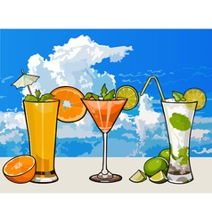 Glasses with different cocktails with fruit vector