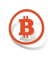 Bitcoin sign sticker orange vector